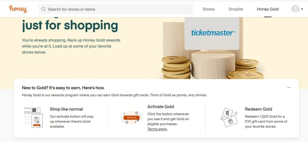 Showing readers that Honey Gold is available as a reward scheme.