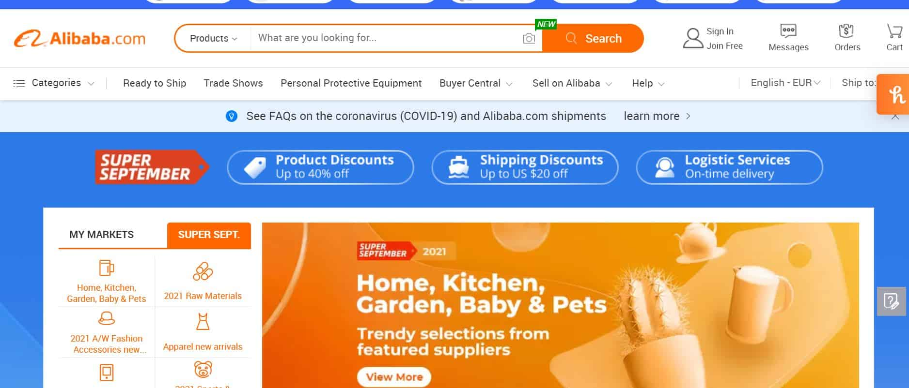 Alibaba free shipping and other promotions to get more customers.
