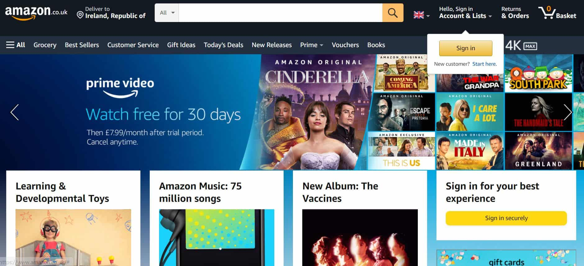 Displaying Amazon's home page so that readers understand what it sells.