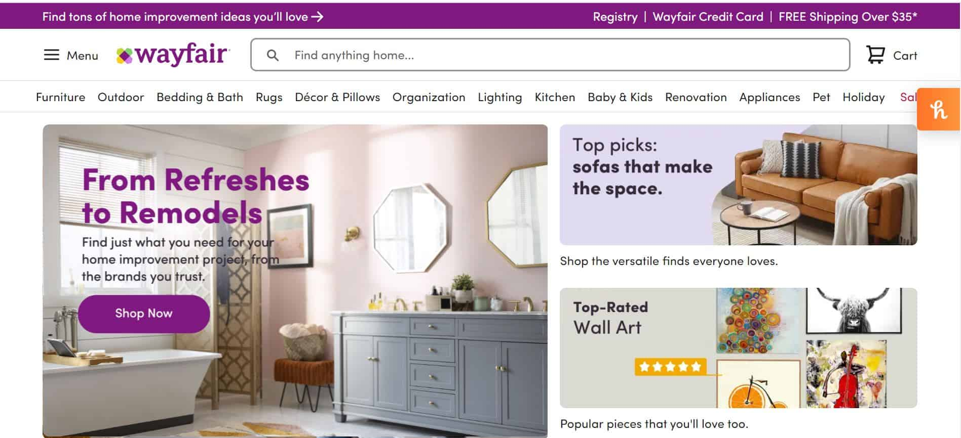 Wayfair Inc. provides free shipping and sells home store items.